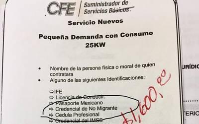 Cfe Pide Acta No Migrante Para Firmar Contrato De Luz El